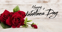 Happy Valentine's Day Wood Roses Greeting ad Facebook Shared Image template