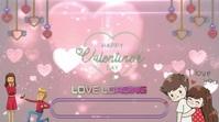 Happy valentine Day Wishes video งานแสดงผลงานแบบดิจิทัล (16:9) template