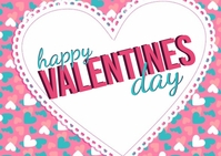 HAPPY VALENTINES DAY CARD AD TEMPLATE Kartu Pos