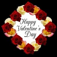 Happy Valentines Day Greeting card Roses Ad Publicación de Instagram template