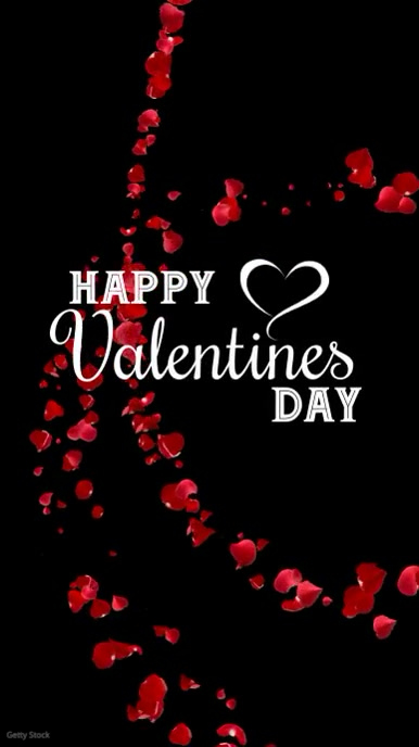Happy Valentines Day Greeting card Roses Instagram Story template