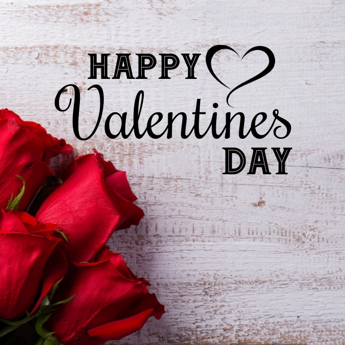 Happy Valentines Day Greeting card Roses Wood Instagram na Post template