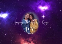 Happy Valentines Day Heart Galaxy Ikhadi leposi template
