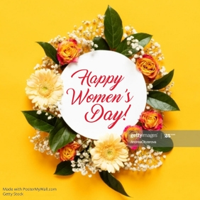 Happy Women's Day Card Yellow White Flowers Womens Day