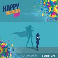 Happy Women's Day Flyer Video Cuadrado (1:1) template