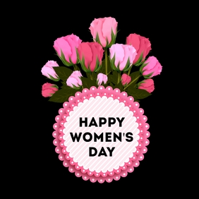 Happy Women's Day greeting card Roses Flowers
