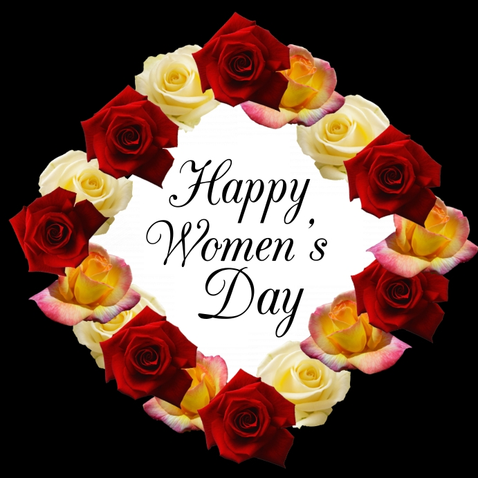 Happy Women's Day Greeting Card Roses Square Instagram-opslag template