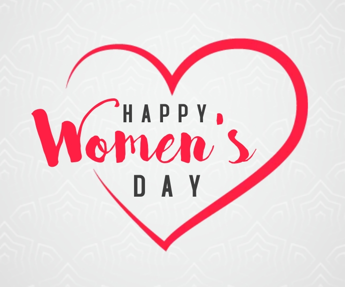 Happy women's day hearts greeting สามเหลี่ยมขนาดกลาง template