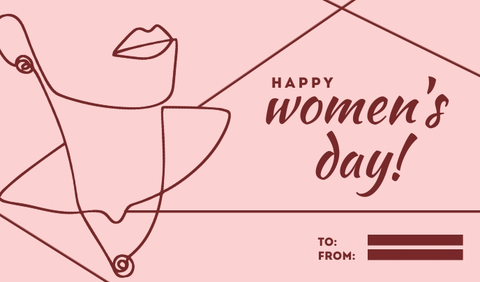 Happy Women's Day Line Art Templates Mærke