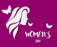 Happy Women's day lovely purple Mellemstort rektangel template