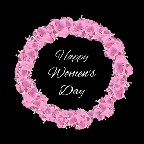 Happy Women's Day Pink Flowers Circle Rosa
