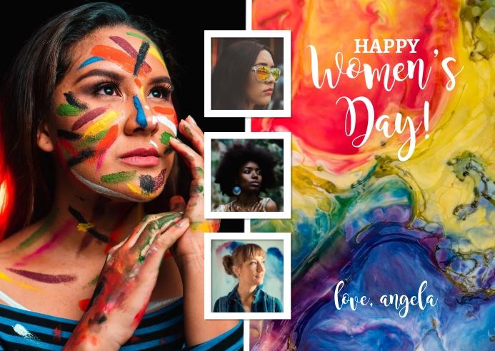 Happy Women's Day Postcard template