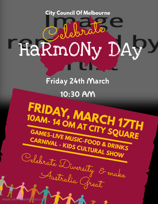 Harmony Day Celebration Flyer Template  Postermywall
