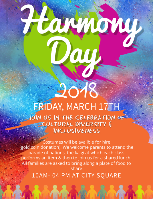 Harmony Day School Event Flyer template