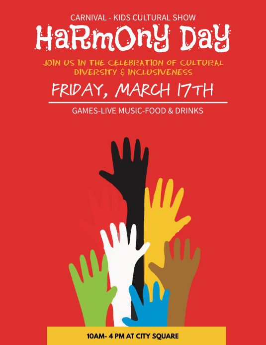 Exceptional Harmony Day School Event Flyer Template