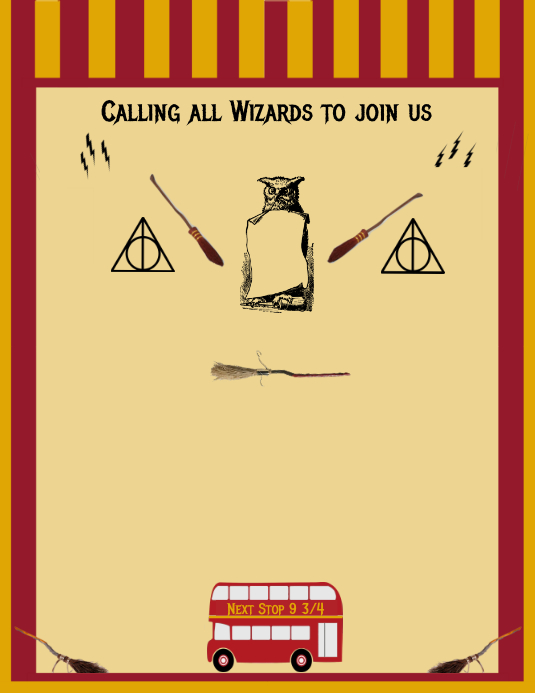 Harry Potter Birthday Invitation Customize Template