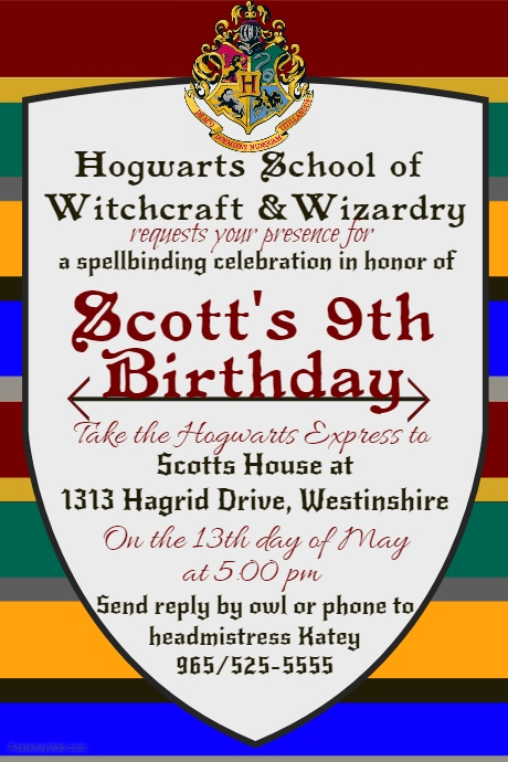 Harry Potter Birthday Invite Customize Template