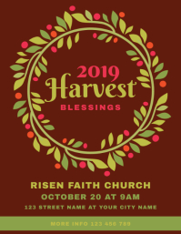Harvest Blessings Church Flyer Template