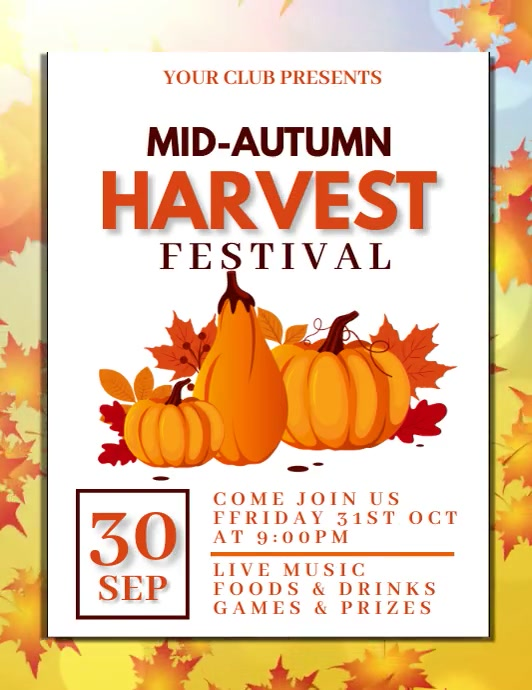 Harvest festival,event Flyer (Letter pang-US) template
