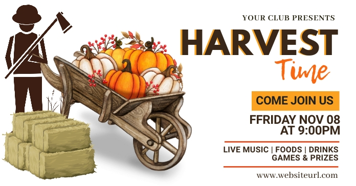 Harvest festival,fall,autumn, Halloween Facebook Shared Image template