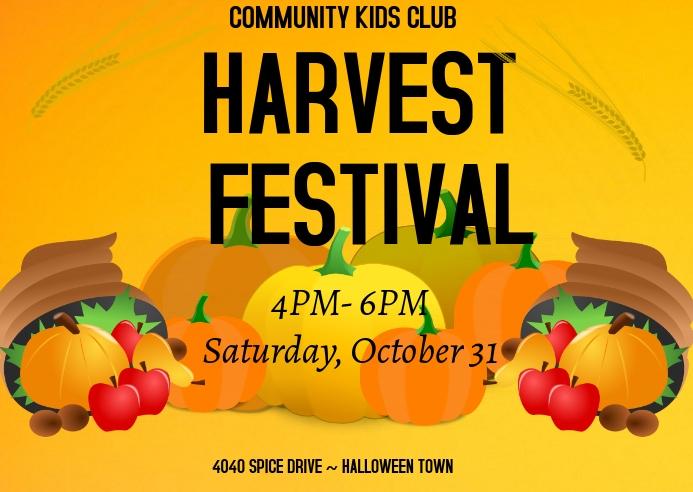 harvest festival fall autumn halloween event Postkort template