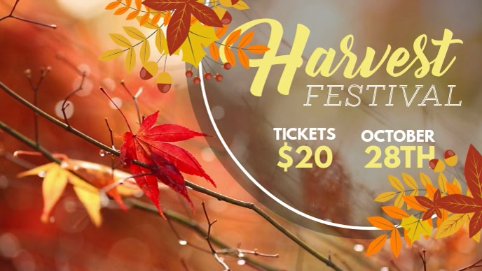 Harvest Festival Invitation Facebook Cover Video Template