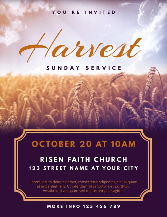 Harvest Sunday Service Church Flyer