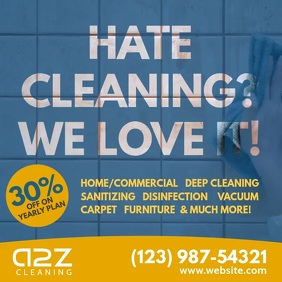 Hate cleaning We love cleaning video ad Instagram-opslag template
