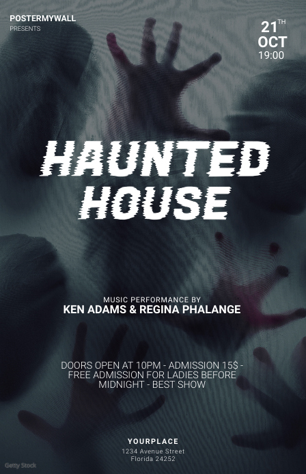 Haunted house halloween party flyer template Tabloïd