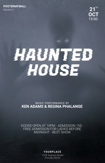 Haunted house halloween party flyer template Tabloid