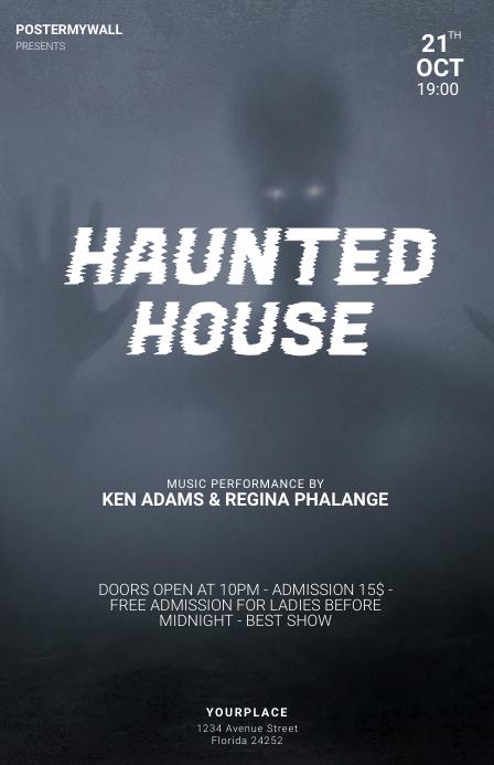 Haunted house halloween party flyer template Tablóide