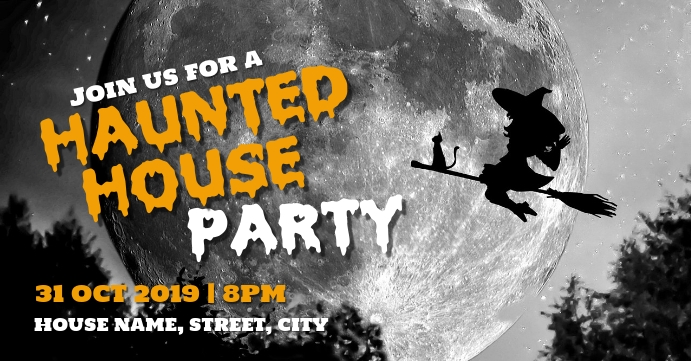 Haunted house party Facebook 活动封面 template