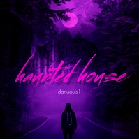 Haunted House Purple Mixtape CD Cover template