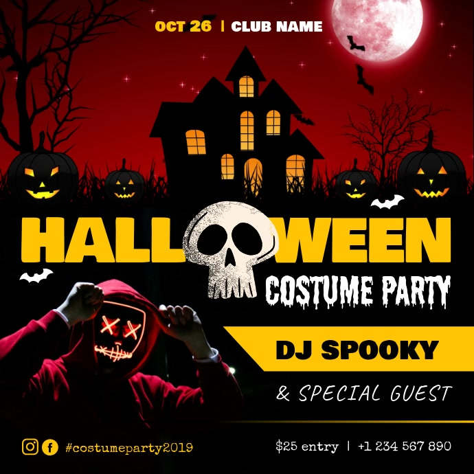 Haunted House themed Halloween Costume Party สี่เหลี่ยมจัตุรัส (1:1) template