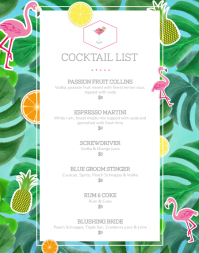 Hawai Themed Cocktail Menu Wallboard Poster/Wallboard template