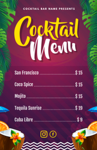 Hawaian Themed Cocktail Menu Half Page Wide