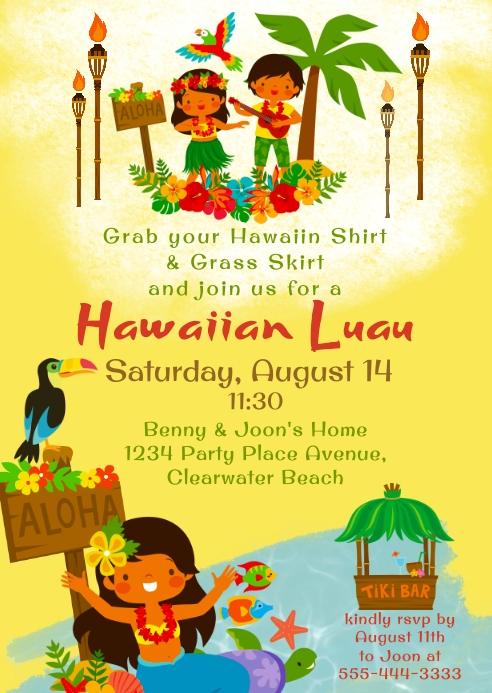 Hawaiian Luau Party Invitation A6 template