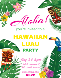 photograph regarding Hawaiian Party Invitations Free Printable titled 26,040+ Luau Get together Customizable Style and design Templates PosterMyWall
