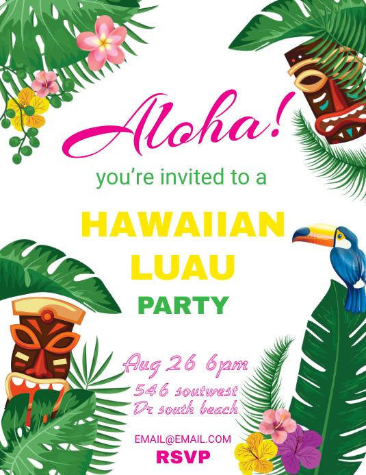 Plantilla De Fiesta Hawaiana De Postermywall