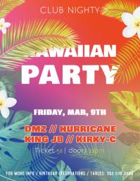 customizable design templates for hawaiian party invitation flyers