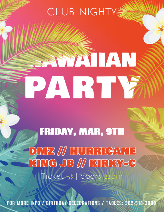 Hawiian Club Night Party Flyer Template Folheto (US Letter)