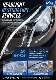 Headlight Restoration Service Flyer A4 template