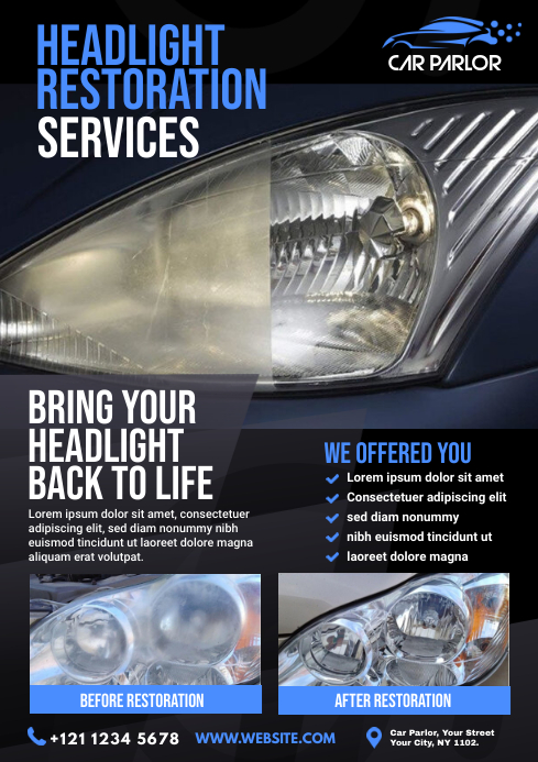 Headlight Restoration Service Flyer A4 template