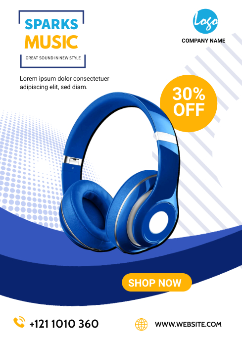 headphone sale flyers A4 template