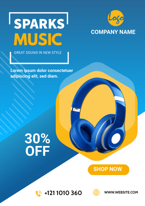 Headset ads flyers A4 template