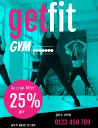health and fitness GYM FLYERS ใบปลิว (US Letter) template