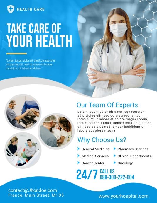 Health Care Flyer Template Folheto (US Letter)