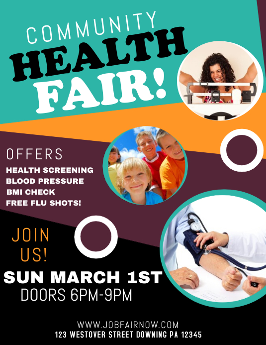HEALTH FAIR Folheto (US Letter) template