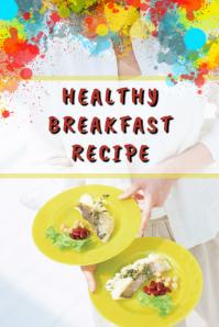Healthy Breakfast Illustration Pinterest template