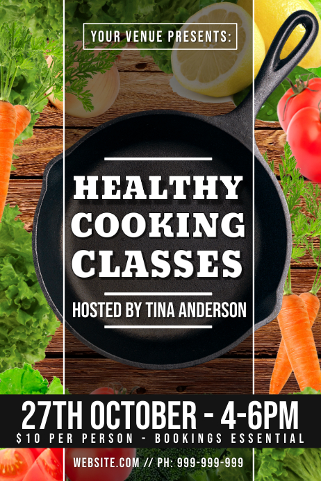 Healthy Cooking Classes Poster template